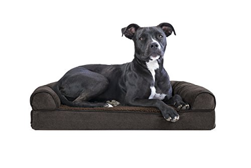 (FurHaven Pet Dog Bed | Memory Foam Faux Fleece & Chenille Sofa-Style Couch Pet Bed for Dogs & Cats, Coffee, Medium )