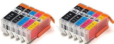 10 replacement Canon PIXMA MG6620 ink toner cartridge for 2 each of Cannon PGI-250XL Black, CLI-251XL Black, CLI-251XL, CLI-251XL, CLI-251XL for MG-6620 all-in-one multifunction inkjet Photo printer