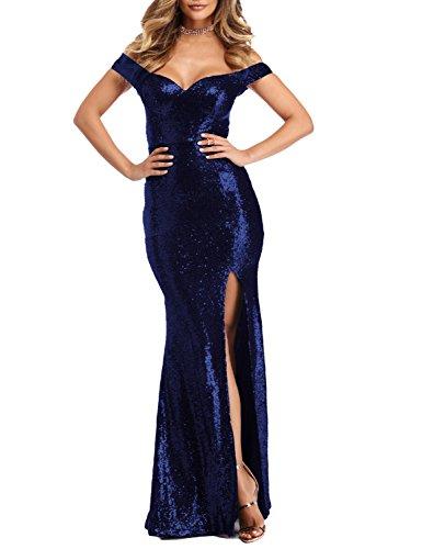 YSMei Women's Long Off Shoulder Sequined Evening Prom Dress Split Mermaid Formal Navy Blue 26W ()