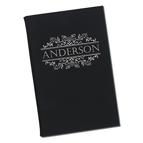 Custom Engraved Thoughts Journal Notebook for Women, Men, Writers, Teachers, Students, Girls, Boys - Personalized and Monogrammed for Free (Black with Silver)]()