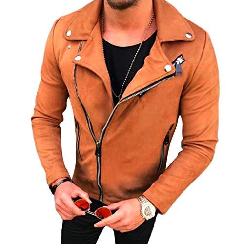 XWBO Men's Pea Coat Warm Zipper Suede Leather Biker Short Jacket Slim Outwear Fashion -
