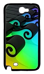 3D Colorful Waves Polycarbonate Hard Case Cover for Samsung Galaxy Note 2/ Note II/ N7100 Black