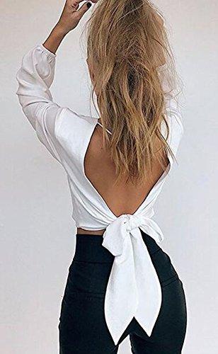 Cravatta Primavera Scollo Maglietta Moda Cime Bianca V Manica Crop Camicie shirt Lunga Corto Senza Maglie Giovane A Farfalla Tops Bluse fashion E Schienale T Sexy Donne Simple Autunno HwnpvFqHt