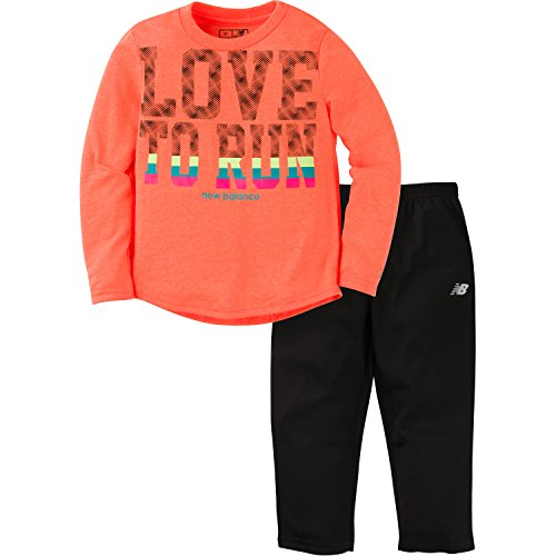 New Balance Baby Girls Long Sleeve Top and Tight Set, Tangerine/Black, 24 Months