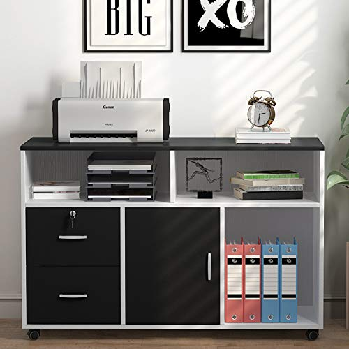 File Cabinet, LITTLE TREE 2 Drawer Storage Printer Stand, Mobile Lateral Filing Cabinet with Wheels, Open Storage Shelves for Study, Home Office ()