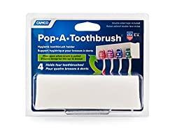 Camco A Pop-a-toothbrush Wall Mounted Holder With Germ Protecting Cover, Perfect For Traveling, Dorm Bathrooms & More, Holds 4 Toothbrushes- (White) (57204)