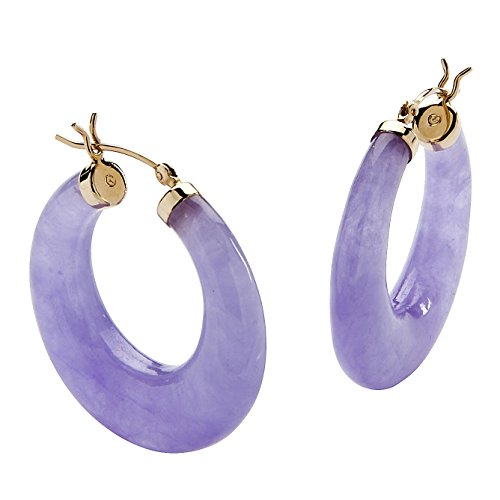 14K Yellow Gold Hoop Earrings (29mm) Genuine Lavender Jade