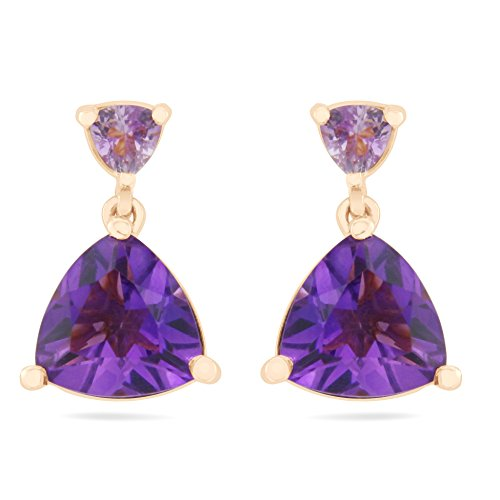 Natural Trillion Rose de France and Amethyst Drop Earrings in Rose Gold over Sterling Silver