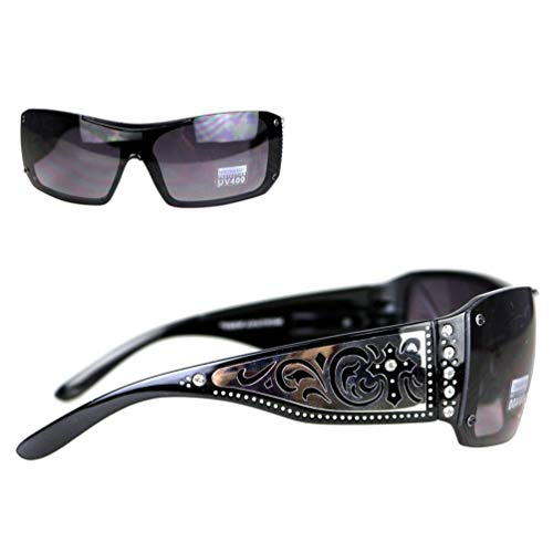 (Montana West Ladies Sunglasses Rhinestones Silver Scrolling Cross Cutouts UV400)