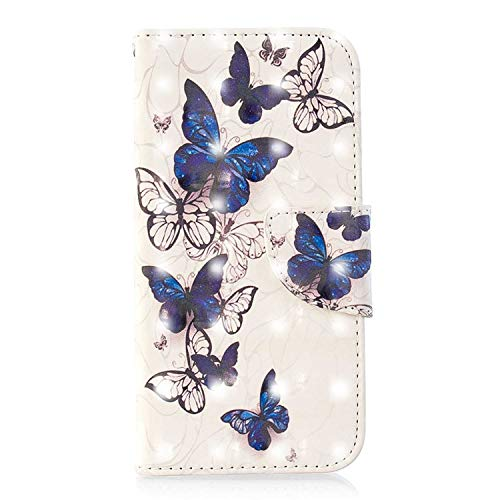 Huawei P30 Lite Case, Bear Village 3D Creative Printed PU Leather Magnetic Flip Folio Wallet Cover with ID and Credit Card Pockets for Huawei P30 Lite (#2 Butterfly)