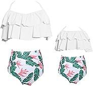 ZAXARRA Women's Sexy High Waist Swimsuit Swimwear Family Matching Girls Bikini Top + Bottom