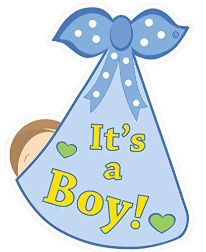 Cute News It's a Boy Stork Baby Door Sign - Welcome Home Newborn Birth Announcement Decoration Hanger - Blue