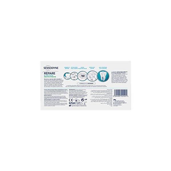 Sensodyne Dentifrice Répare & Protège Menthe Fraîche, Pour Dents Sensibles, Format Bitube, 2 x 75 ml