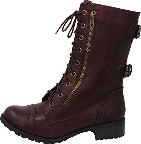 5a70eba4817 Cambridge Select Women s Round Toe Lace-up Buckle Zipper Chunky Heel Combat  Boot