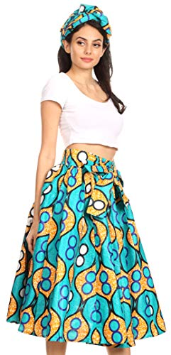 Skirt Cotton Circle (Sakkas 16321 - Celine African Dutch Ankara Wax Print Full Circle Skirt - 17-Multi - OS)