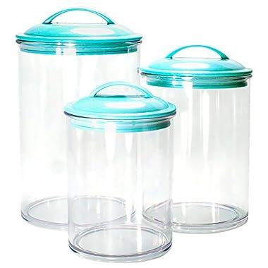 Calypso Basics 3-Piece Acrylic Canister Set, Turquoise Lids