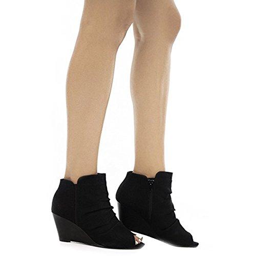 City Classified Women's, Scrunch Fabric Detail Front,Zipper Closure at Back, Open Toe, Boties. MVE Shoes, mve Shoes Arnold Black IM Size 8