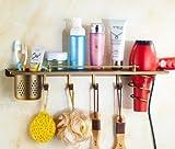 Hair Dryer Holder,Hair Dryer Shelf,Hair Blow Dryer Holder, Antique copper hair dryer rack European-style bathroom retro shower rack Wall-mounted Storage cartridge-B