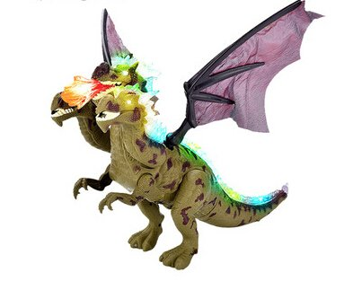Walking Three Heads Dinosaurs Electronic Pet Doing Sound And Lights,Electronic Toys Children Toys 2 Color (Green,Orange)