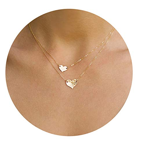 - Mevecco Layered Heart Pendant Necklace,14k Gold Plated Love 2 Heart Love Tiny Dainty Layering Pendants Necklaces Jewelry Gift for Women Girls