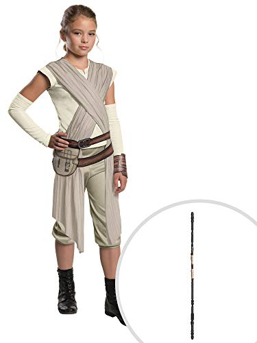 Star Wars Rey Costume Kit Deluxe Kids Large With Staff