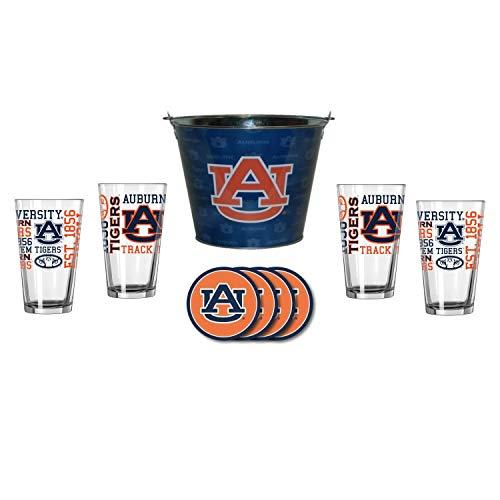 NCAA Auburn - Tonal Wrap Ice Bucket, Spirit Pint Glasses (4) & Vinyl Coasters (4) Set | Auburn Tigers Beer Bucket Gift Set