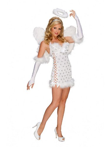 Rubies Womens Playboy Sexy White Angel Halloween Costume (Large)