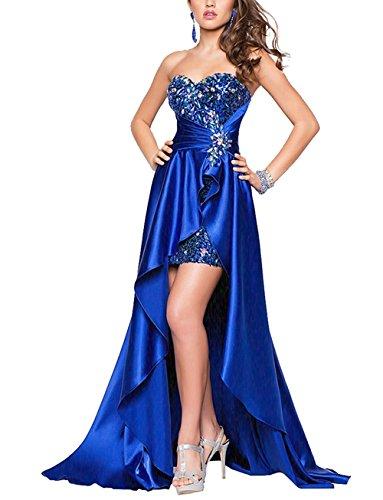 Kurz ärmellos Cocktailkleid langen vorderen mit Bandeau Sexy Pailletten Kleid Damen Partykleid Festlich Blau Kleid im Abendkleid Brautjungfer 78pXPwq0n