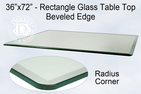 TroySys 36x72 Inch Rectangle Glass Table Top 3/8 Inch Thick Bevel Polished  Edge Radius
