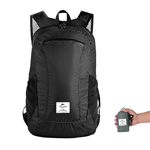 Naturehike Ultralight Foldable Packable Small Hiking Daypack Backpack for Women Men, Lightweight 18L Waterproof for Climbing Camping Backpacking Cycling Bicycle Travel Business Airplane (Black)