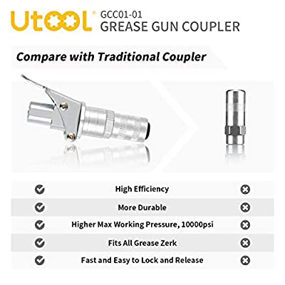 UTOOL Grease Gun Coupler, Grease Gun Tips Fast to Lock and Release, Heavy Duty 10000 PSI Grease Fitting 1/8'' NPT Fits All Types of Grease Gun: Automotive
