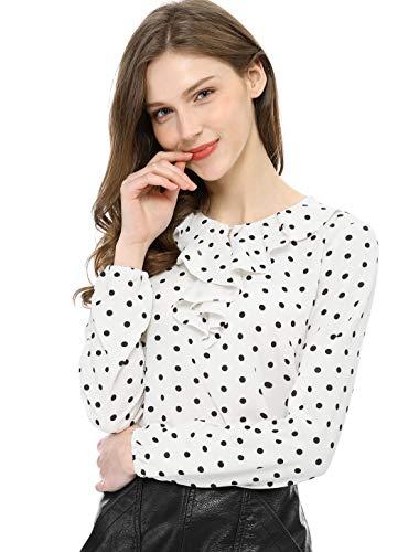 Allegra K Women's Ruffle Neck Long Sleeve Vintage Polka Dots Tunics Blouse Shirt L White