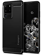 SPIGEN [Rugged Armor] Galaxy S20 ULTRA Case Cover with Shockproof Protection and Carbon Fiber Design Compatible with Samsung S20 ULTRA (2020) - Matte Black