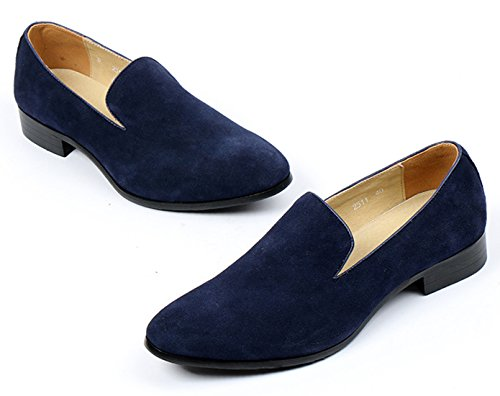Santimon Suede Loafers for Men Smoking Slipper Moccasins Casual Slip on Loafer Dress Shoes Black Blue Blue pjwnpnx