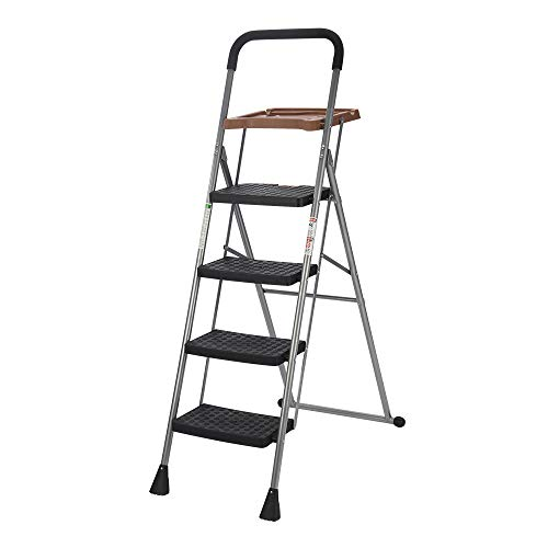 Folding 4 Step Ladder with Tool Platform Tray Equipment Stool Ladder Lightweight for Indoor/Outdoor with Wide Anti-Slip Pedal, 330lbs Capacity