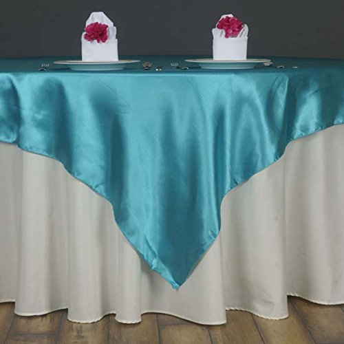 (LinenTablecloth 60-Inch Square Satin Overlay Turquoise )