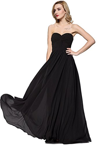 ess Sweetheart Pleated Evening Prom Dress (12, Black) ()