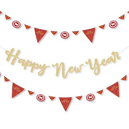 Big Dot of Happiness Chinese New Year - Year of the Pig Party Letter Banner Decoration - 36 Banner Cutouts and No-Mess Real Gold Glitter Happy New Year Banner - Chinese New Year Banner