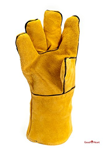 Cowhide Leather Welding Gloves With FREE Bonus Pair of Welding Goggles for Ultimate Set. Extreme Heat Resistant, Perfect For Tig Welders, Mig, and Other Industrial Work. Convenient Flip-Up Goggles by Goodheart (Image #1)