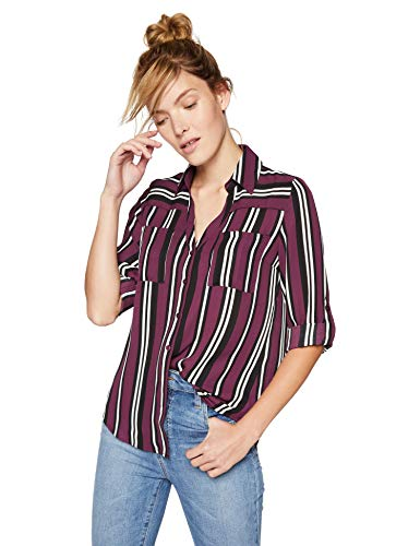 A. Byer Junior's Chiffon Tab-Sleeve Top, Bordeaux Stripe, S