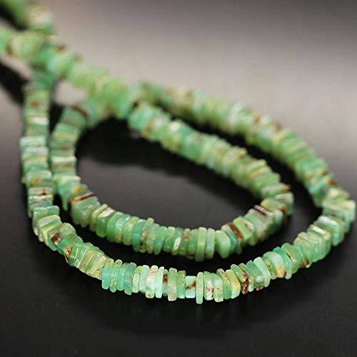 GemAbyss Beads Gemstone Natural Green Chrysoprase Smooth Square Heishi Cube Square Gemstone Craft Loose Beads 16 Inch Long 4.5mm Code-MVG-26948