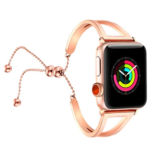 - fastgo Bracelet Compatible for Apple Watch Band 38mm 42mm, 2018 Dressy Fancy Jewelry Bangle Cuff for Iwatch Bands Series 4 3 2 1 Women Girls Adjustable Stainless Steel Pendant (Rosy Gold-42mm 44mm)