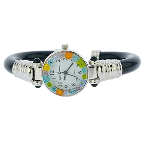 GlassOfVenice Murano Glass Millefiori Bangle Watch - Silver Black Multicolor ()