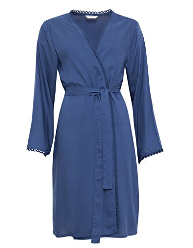 Cyberjammies 3269 Women's Bow Blue Woven Modal Dressing Gown Loungewear Bath Robe Robe