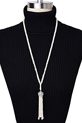 Kayamiya Women's 20s Gatsby Flapper Beads Pearls Necklace with Tassel and Crystal