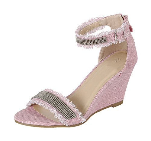 Cambridge Select Women's Open Toe Frayed Beaded Ankle Strappy Wedge Sandal (7.5 B(M) US, - Pink Beaded Sandals