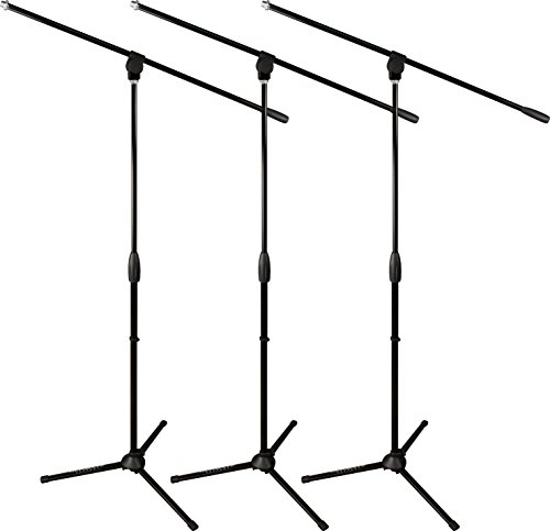 Ultimate Support MC-40B 3-PACK Classic Series Microphone Stand with Three-way Adjustable Boom Arm and Stable Tripod Base - -
