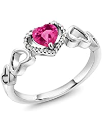 10K White Gold 0.80 Ct Heart Shape Pink Created Sapphire Diamond Accent Engagement Ring (Available in size 5, 6, 7, 8, 9)