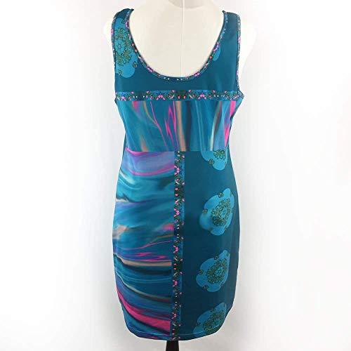 Hawaiian Blue Ocean & Medallions Sleeveless Spandex Short Pencil Dress Size XL by Steady Threads Studio