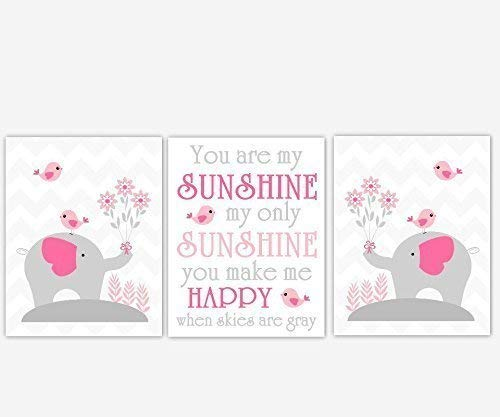 Baby Girl Nursery Art Elephant Pink Gray Grey Birds Chevron You Are My Sunshine Song Quote Baby Nursery Decor SET OF 3 UNFRAMED PRINTS by Dezignerheart Designs
